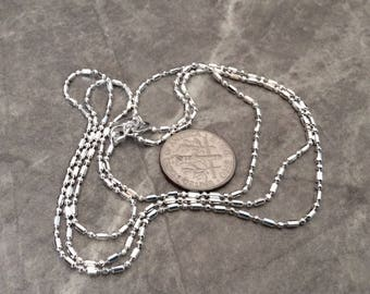 3 - 20 inch silver plated chain with alternating ball and cylinder beads, polished chain, lobster claw clasp-  FAST SHIPPING