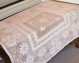 "Pink Lace Tablecloth, Vintage Peach Table Topper, 46"" by 46"","