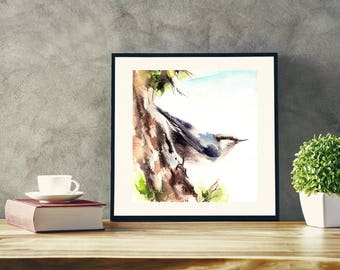 Nuthatch Bird Original Watercolor Painting, Bird Art, Painting of Nuthatch bird