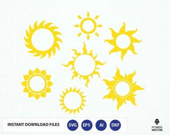 Sun SVG, Sun monogram, Summer svg, Sunlight svg, Sun dxf monogram frames - Svg, Dxf, Pdf, Eps, Silhouette Studio Files. Sun Clip art