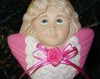Ceramic Angel Ornament in Hot Pink - Ceramic Ornaments - Christmas Ornaments - Ceramic Angels