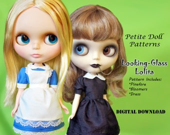 Looking-Glass Lolita Dress Clothes Pattern for Petite Dolls: Neo Blythe, Licca, Pure Neemo & Similar sizes