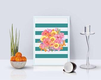 Flower Art Print, Flower Wall Print, Wall Art, Flower Wall Art, Flower Print, Dorm Decor, Digital Download, Watercolor Art, Digital Print