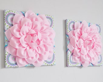 """Aqua and Pink Haute Girl Nursery Light Pink Dahlias 12 x12"""" Canvases Wall Art- Baby Nursery Wall Decor-TWO Wall Hangings"""