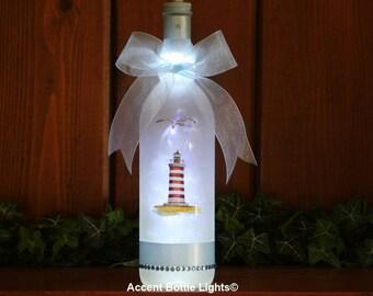 Harbor Lighthouse Lamp Gift- Nautical Maritime Decor- Ocean Blue Sailing- Boaters- Ship Sea- Beach- Wine Glass Bottle Lights- LED Nightlight