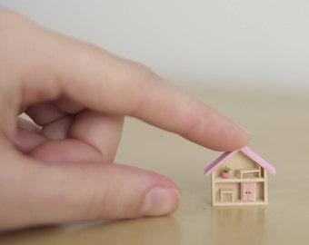 Micro Pink House, miniature house, mini House, micro miniature home, wooden house