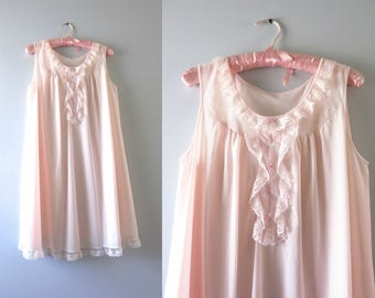 Vintage Pink Nightie | 1970s White Embroidered Pink Flowers Nightie M/L