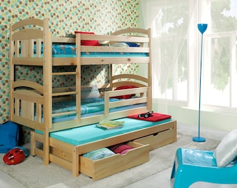 3 sleeper white bunk beds childrens solid pine triple bed with trundle guest bed with foam mattresses