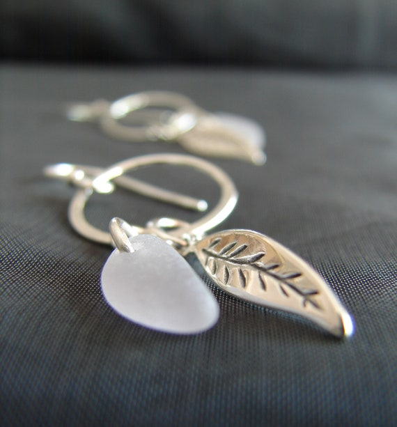 Boho Beach soft lavender sea glass earrings