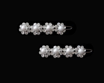 Small Flower Barrette PAIR White Pearl And Clear Crystal Hair Clip Accessory Silver Tone Wedding Bride