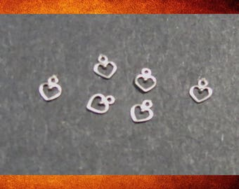 Charms - 6 Sterling Silver Tiny Hearts for jewelry making and crafts. #FIND-030
