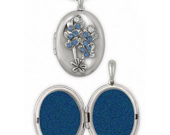 Bluebonnet Photo Locket Jewelry Sterling Silver Handmade Texas Wildflower Photo Locket BBD-V