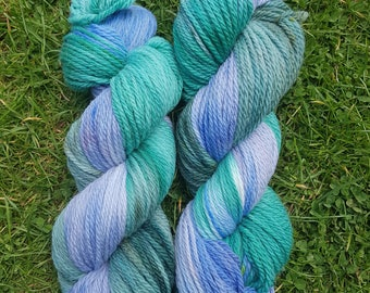 Hand dyed Merino, Aran weight yarn. Knit, crochet, weave, ideal for cloth nappy covers.