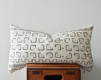 Authentic African Mud Cloth Lumbar Pillow Cover