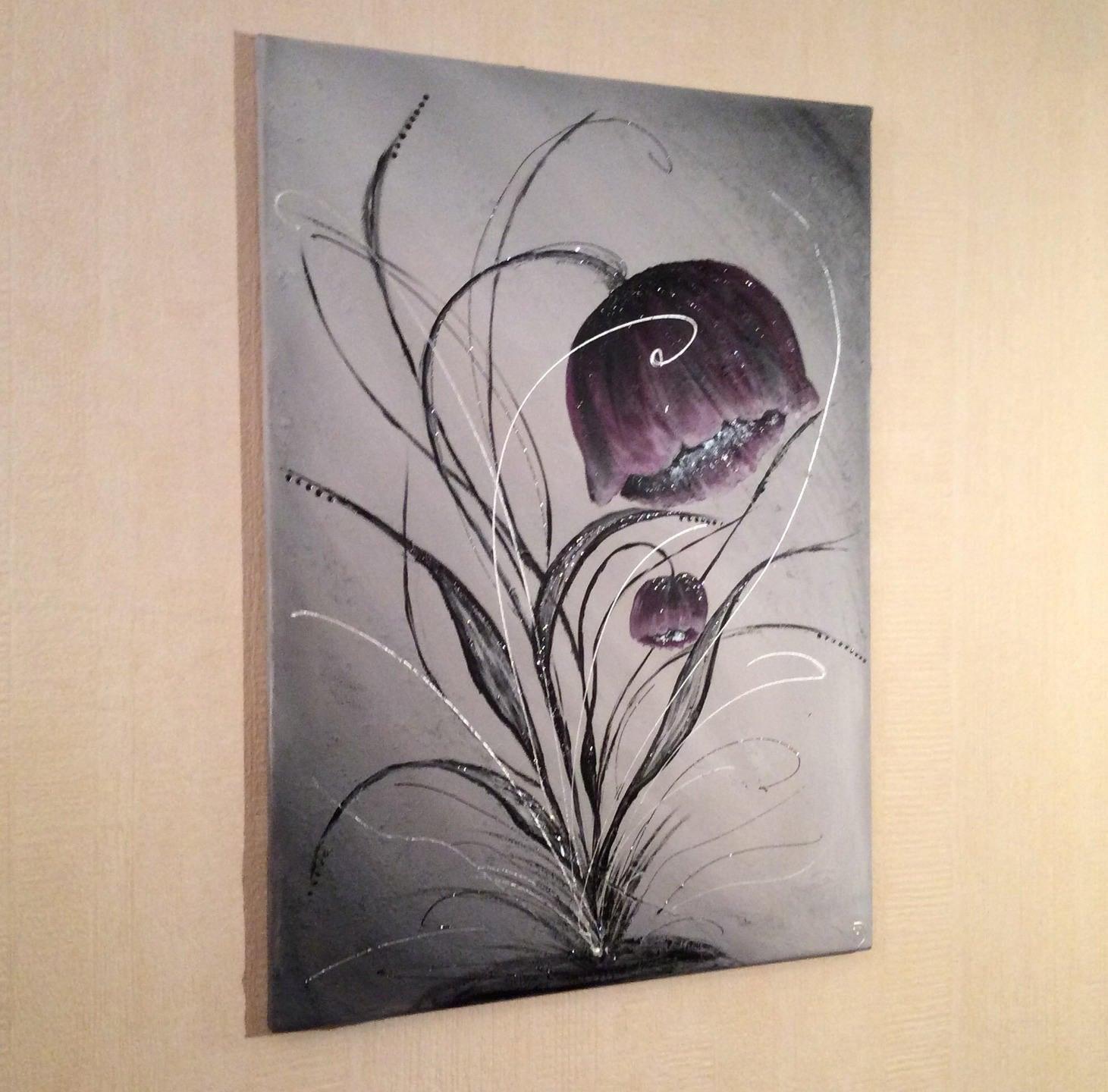 tableau abstrait violet peinture fleurie pavot. Black Bedroom Furniture Sets. Home Design Ideas