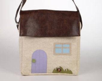 Cross-body cream bag, off-white shoulder bag, canvas messenger bag, house shaped- bag, fairy house, iPad purse, adjustable strap, vegan bag