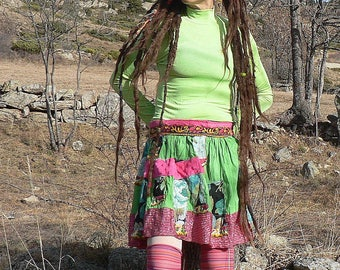 hippie skirt with  shiny patchwork