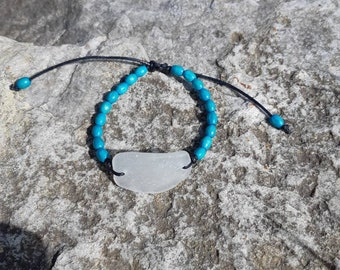 Adjustable Seaglass Bracelet with Turquoise Beads
