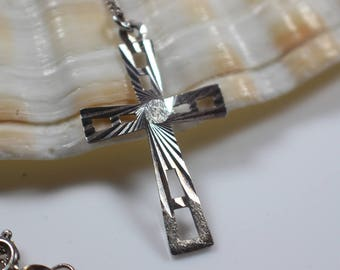 Etched Silver Cross Pendant with Cut Out Design on Silver Chain Necklace