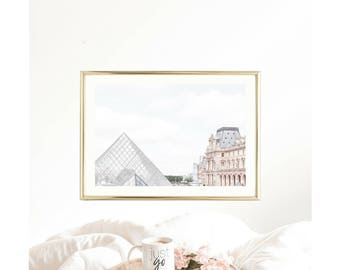 Paris Photography // The Louvre // Blush Wall Prints // Large Wall Art // Paris Decor // Paris Prints // Paris Gallery Wall // Bestseller