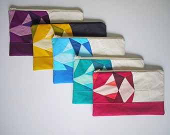Zipper Pouch - Gemstone - Ruby, Topaz, Emerald