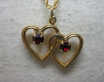 Hearts Gold Red Rhinestones Necklace Pendant