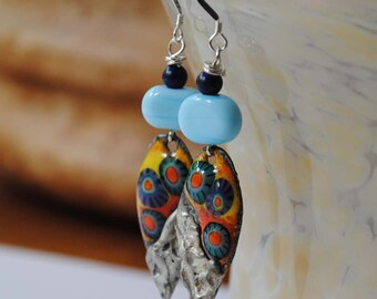 Colorful Teardrop Earrings, Artisan Enamel Earrings, Long Earrings, Lampwork Bead Earrings, Soldered Metal Earrings, Butterfly Earrings