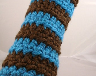 Aqua and Brown Striped Crocheted Arm Warmers (size M-L) (SWG-AW-MB02)