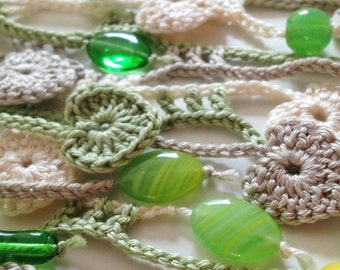 Nature hearted beaded crochet summer scarf