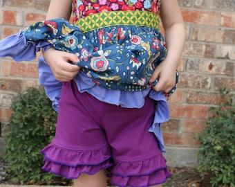 berry purple ruffle shorts shorties bloomers sizes 12m - 14 girls