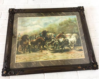 Antique Rosa Bonheur The Horse Fair Lithograph, 22x18 Oak Gesso Picture Frame, Vintage Horse Print