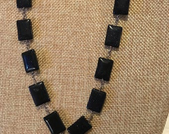 Blue Sand rectangle necklace acented with a heart
