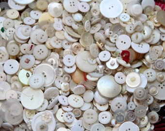 Buttons - Supplies - White Vintage Button Lot, pound of white buttons, shabby cream buttons, bulk buttons, craft buttons