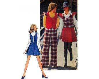 """1970's Simplicity 5852 Retro Woman's Vest, Short Skirt and Pants Size10 or 12 