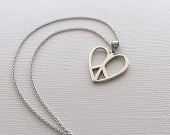 Peace-Heart Necklace in Sterling Silver, Peace Sign Jewelry, Silver Heart Necklace, Love Necklace, Heart Pendant, Peace and Love Necklace.