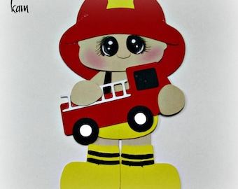 Elite4u Kam Premade Boy Fireman Paper Piecing For Scrapbook Page Layout