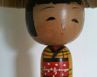 KOKESHI Doll Japanese Style Table Lamp Wooden Painted Base original with Raffia Shade