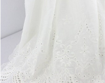Lace Fabric White Both Sides Totem Embroidery Cotton Fabric Wedding Fabric 1 yard