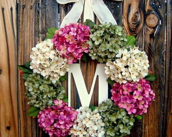 Spring Floral Wreath - Hydrangea Wreath with Monogram - Spring Wreath - Summer Wreath - Monogrammed Wreath - Initial Wreaths