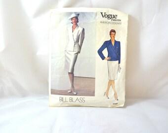 1980s Vintage Vogue Pattern 1158 Misses Jacket and Skirt Bill Blass Design size 12 bust 34