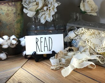 Rae Dunn Inspired READ Sign Farmhouse Style Home Decor Rae Dunn Sign Farmhouse Sign Fixer Upper Decor Farm Decor Shabby Chic