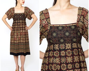 Vintage 1970s Short Sleeved Black, Red and Mocha Brown Mixed Pattern Dress with Square Neckline and Empire Waist by Shawn Originals   Medium