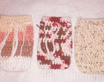 Handmade 100% Cotton Crochet Soap Saver Bag with Drawstring, Washcloth, Multi-color Soap Saver Bag