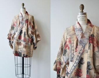 Furui Bara silk haori | vintage floral silk haori jacket | silk short kimono jacket