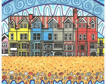 "Aldeburgh, Suffolk 6x6"" greetings card"