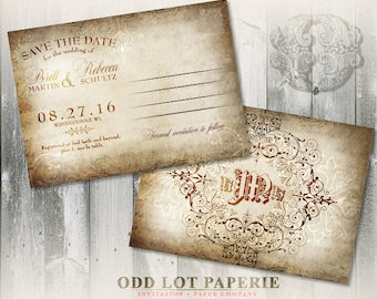 Rustic Old World Save the Date Wedding Postcard - Vintage Wedding Stationery - DIY Printable Invitations - Monogram Wedding Printable