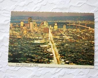 Vintage 1977 San Francisco Postcard, Night Postcard, California Postcard, San Francisco Bay, Golden Gate Bridge Postcard
