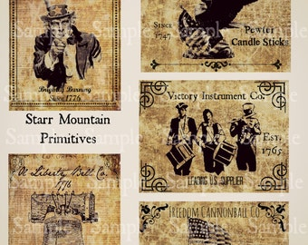Primitive Americana Uncle Sam Soldiers Liberty Bell Flag Jpeg Digital Pantry Labels Many Uses!  Rag Tags, Hang tags Magnets Ornies