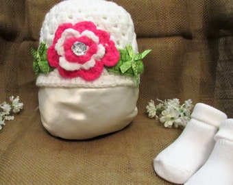 c35  3 to 6 Months White and Pink Hat, Hand Made, Crocheted Hat, Crocheted Baby Beanie