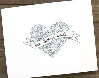 Original Hand Lettered Watercolor 8x10 - love beyond words